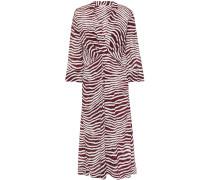 Wrap-effect Zebra-print Crepe De Chine Midi Dress