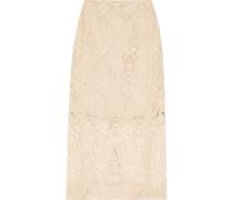 Flocked Lace Pencil Skirt Beige