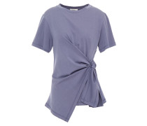 Asymmetric Knotted Cotton-jersey Top