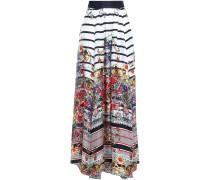 Gathered Printed Silk-twill Maxi Skirt