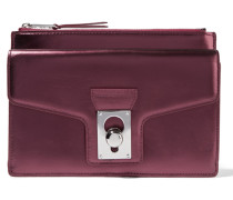 Metallic Leather Pouch Plaume