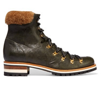 Hamilton Shearling-trimmed Leather Boots Grün