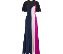 Emile Color-block Silk-satin Gown