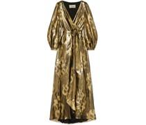 Eda Wrap-effect Silk And Lurex-blend Jacquard Maxi Dress