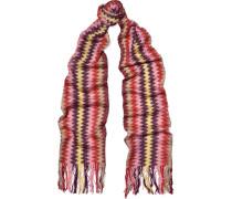 Fringed Crochet-knit Cotton-blend Scarf Mehrfarbig
