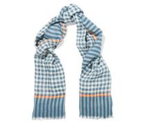 Belinda Checked Linen-blend Scarf Azurblau