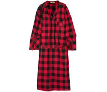 Checked Cotton And Silk-blend Twill Top