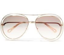 Aviator-style -tone And Acetate Sunglasses