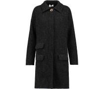 Ribbed Wool-blend Coat Schwarz