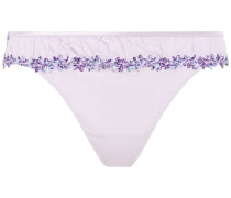 Lace-trimmed Stretch-jersey Mid-rise Thong