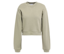 Zip-detailed Cropped French Cotton-terry Sweatshirt
