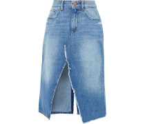 Woman Georgia Split-front Distressed Denim Skirt Mid Denim