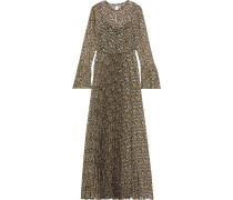 Pleated Floral-print Georgette Maxi Dress