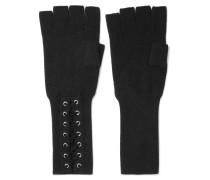 Lace-up Cashmere Fingerless Gloves Schwarz