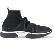 Fuite Sneakers aus Stretch-strick mit Lederbesatz