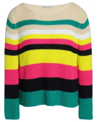 Striped Ribbed-knit Cotton Sweater Multicolor