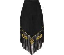 Bead-embellished fringed suede midi skirt
