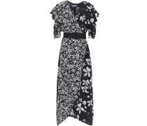 Woman Wrap-effect Floral-print Silk Crepe De Chine Midi Dress Black