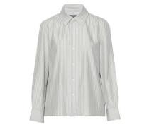 Metallic striped woven silk-blend shirt