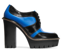 Two-tone Leather Ankle Boots Kobaltblau