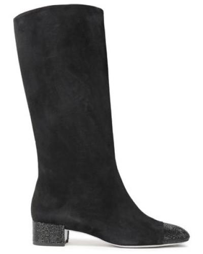 Crystal-embellished Suede Knee Boots Black