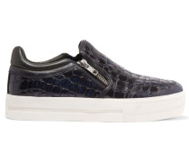 Jordy Croc-effect Leather Sneakers Schwarz