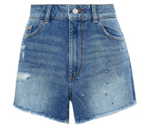 Woman Cleo Crystal-embellished Distressed Denim Shorts Mid Denim