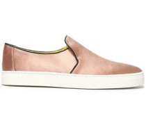 Leather-trimmed satin slip-on sneakers