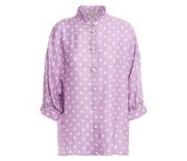 Bluse aus Glänzendem Jacquard mit Polka-dots und Rüschenbesatz
