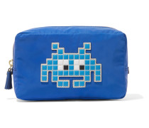 Space Invader Appliquéd Shell Cosmetics Case Blau