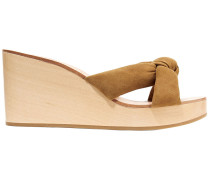 Taylor Knotted Suede Wedge Sandals