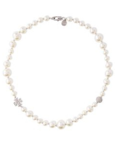 Woman Crystal-embellished Faux Pearl And Moonstone Necklace Ecru