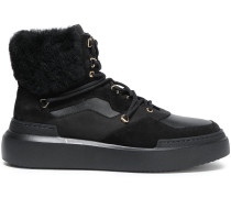 Faux Fur-trimmed Suede And Leather Ankle Boots