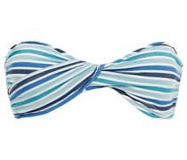 Bandeau-bikini-oberteil aus Seersucker mit Streifen und Twist-detail An Der Vorderseite