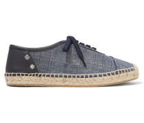 Leather-trimmed Denim Espadrilles Mittelblauer Denim
