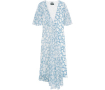 Balfour Printed Silk-georgette And Crepe De Chine Dress Himmelblau
