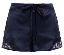 Pyjama-shorts aus Satin aus Einer Seidenmischung mit Spitzenbesatz