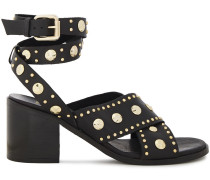 Woman Studded Leather Sandals Black