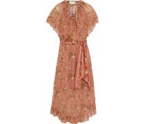 Espionage Frilled Tie-neck Floral-print Silk-georgette Midi Dress