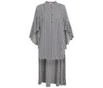 Asymmetrische Bluse aus Popeline mit Streifen