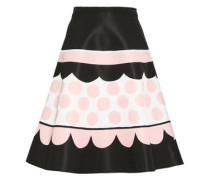 Printed Faille Flared Skirt Black
