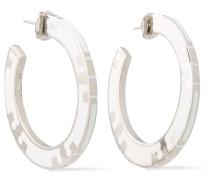 Silver-tone Enamel Earrings