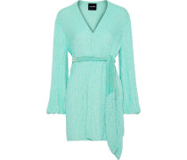 Gabriela Velvet-trimmed Sequined Chiffon Mini Wrap Dress