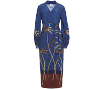 Printed Crepe De Chine Midi Wrap Dress