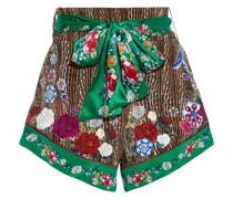 Bedruckte Shorts aus Crêpe De Chine aus Seide mit Gürtel und Kristallverzierung