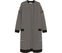 Oversized Striped Knitted Cardigan Schwarz