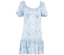Catalina Ruffled Floral-print Silk-satin Mini Dress