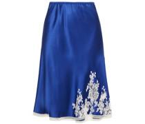 Slip Skirt aus Seidensatin mit Chantilly-spitzenbesatz