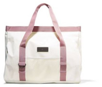Canvas-trimmed coated-PVC swim tote