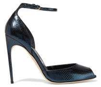 Oriana Metallic Watersnake Sandals Petrol